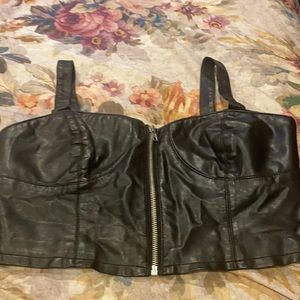 Forever 21 faux leather crop top